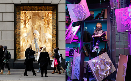 """The BG Follies of 2012"" at Bergdorf Goodman, photo by Joe Buglewicz ; ""Snowflake Spectacular"" at Saks Fifth Avenue, photo by Jemal Countess/Getty Images"