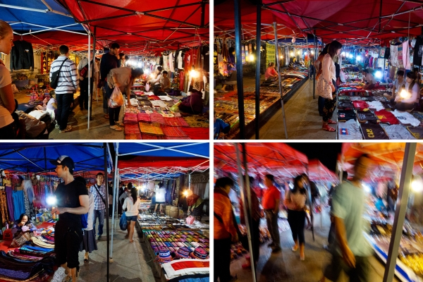 luang prabang shopping at night