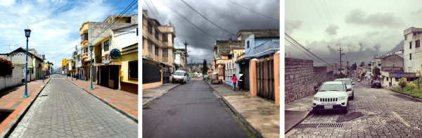 strolling city streets: Cotacachi, Quito sur, Quito norte