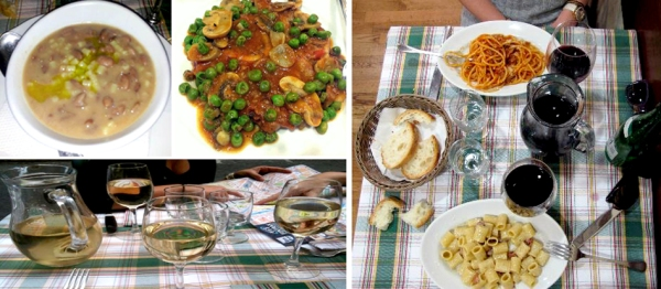 some of the traditional dishes and local wine on the menu