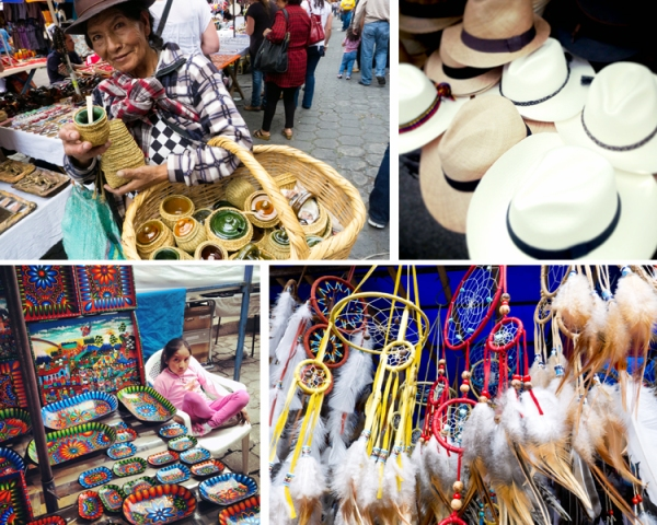 "artisanal souvenirs from the market; a misnomer, the ""panama hat"" is actually from ecuador"
