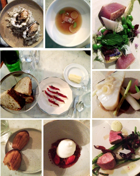 dinner at Bones (fresh baked bread and butter with duck prosciutto; smoked oysters; broth with smoked eel;