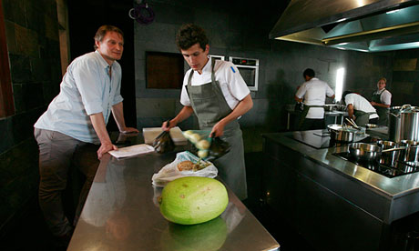 Claus Meyer and his chefs in Gustu's open kitchen (photo by: David Mercado)