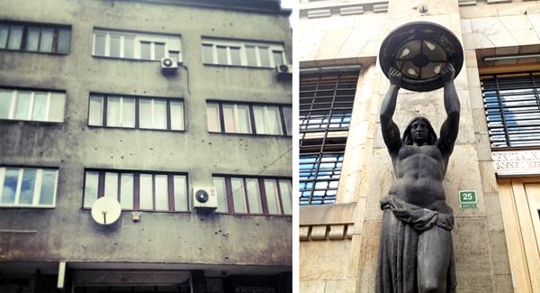 bullet holes and modernist Soviet sculpture