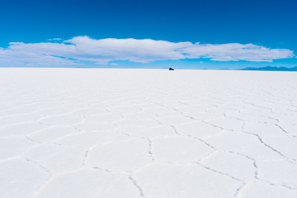 the vast and flat Salar de Uyuni is the largest salt flat in the world