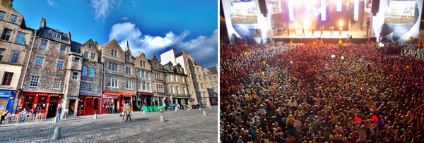 Edinburgh by day and Glastonbury by night (photos courtesy of paradiseintheworld.com and atravelbook.com respectively)