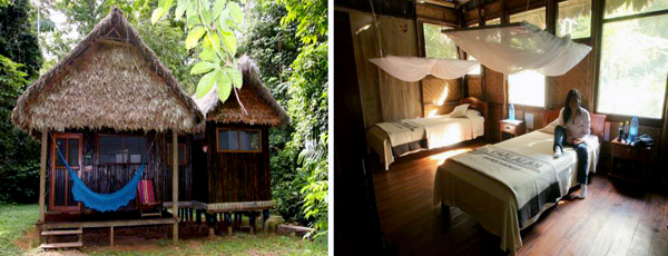A typical cabin at Chalalan (photo courtesy of Chalalan Ecolodge)